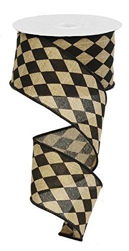 Harlequin Ribbon, Black and Tan Faux Burlap Ribbon, 2.5