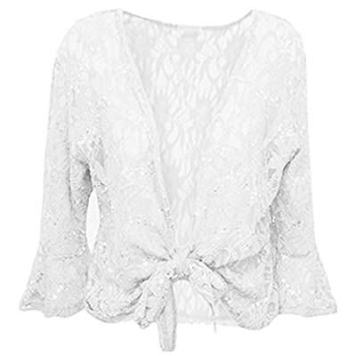 Xclusive Collection Women's Plus Size Tie Up 3/4 Flared Sleeve Bolero Top for cheap