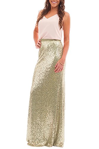 a8e21a9e63 Honey Qiao Women's Sequins Skirts Mermaid High Waist Long Maxi Wedding  Party Skirt