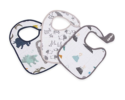 Little Unicorn Cotton Classic Bib 3 Pack - Dino Friends, Blue, Green, Navy