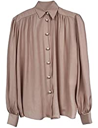 Silk Blouse with Puff Sleeve and Pearl Buttons