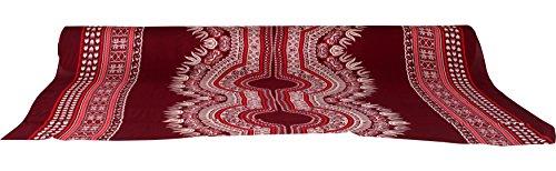 Raan Pah Muang Thin Bright African Dashiki Rayon Fabric Print 42inch x 3yard Bolt, Pattern B Dark Red -