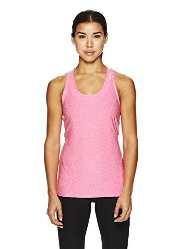 Reebok Women's Dynamic Fitted Performance Racerback Tank Top- Marled Wild Pink Heather/Pink, Small