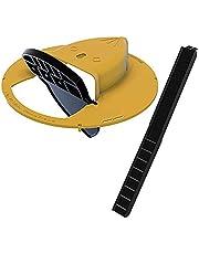 CNmuca Balde deslizante Tampa Rato Rato Trap Estilo Porta Trap Multi Catch Auto Rese Interior Externo Balde Ratoeira Com Inclinação Para Camundongos amarelo + preto 12 x 12 x 3 polegadas