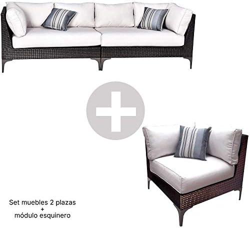 Conjunto Muebles de Jardín Ratán | Módulo Esquinero + Sofá 2 ...