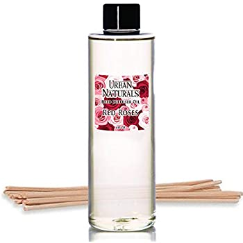 Urban Naturals Red Roses Reed Diffuser Oil Refill & Bamboo Reed Sticks | Beautiful Floral Scent of Fresh Cut Roses | Made in The USA