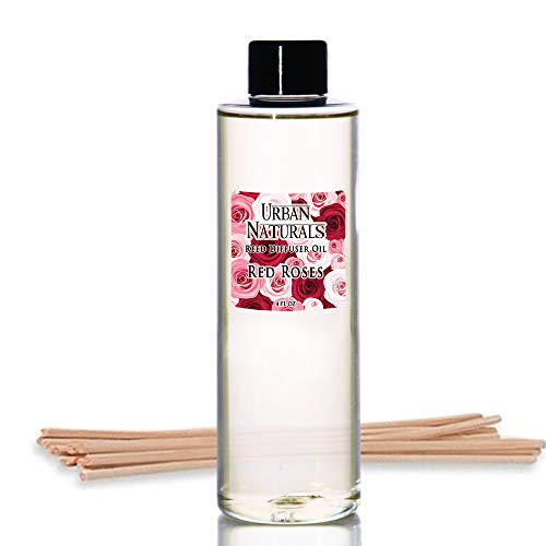 (Urban Naturals Red Roses Reed Diffuser Oil Refill & Bamboo Reed Sticks | Beautiful Floral Scent of Fresh Cut Roses | Made in The USA)