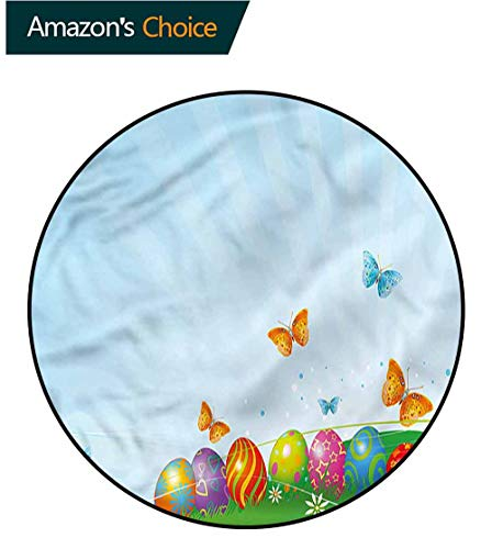 RUGSMAT Easter Round Rug Kid Carpet,Flying Butterflies Meadow Lifts Basket Swivel Chair Pad Coffee Table Rug ()