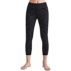 Oalka Women's Yoga Capris Power Flex Running Pants Workout Leggings Dye-Black M