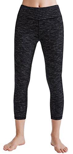 Oalka Women's Yoga Capris Power Flex Running Pants Workout Leggings Dye-Black L