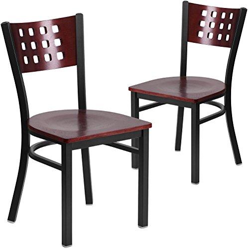 Flash Furniture 2 Pk. HERCULES Series Black Cutout Back Metal Restaurant Chair - Mahogany Wood Back & Seat