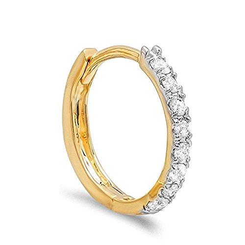 0.11 Carat (ctw) 10K Gold Round White Diamond Ladies Huggie Hoop Earring (1 PC only)