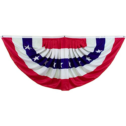 Shoe String King SSK 6' Pleated USA Fan American Flag - Independence Day July 4th Decor - 6' X 3' Full ()