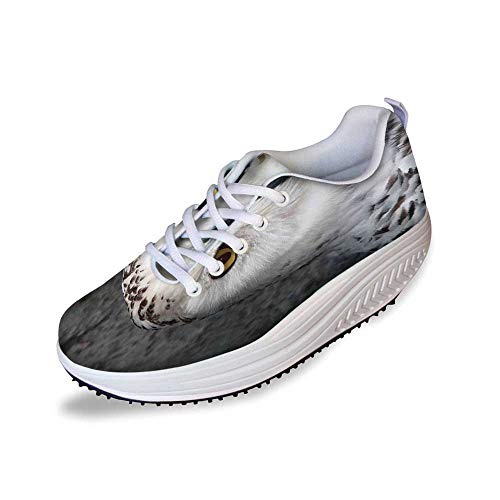 Wizard Stylish Shake Shoes,Pattern White Owl Themed Animal Green Leaves Amber Eyes Gift Witchcraft Print for Women,5