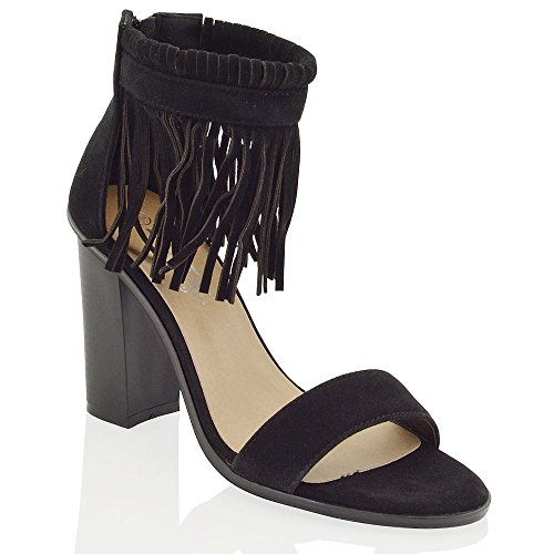 GLAM Womens Suede Heel Faux Suede Fringe ESSEX Ankle Faux Shoes Black Chunky Strap Heels danqw5