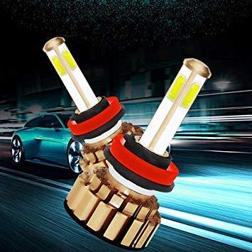 Uniqus 2 PCS Auto Car H8 H9 H11 28W 2200LM 6000K Pure White COB LED Headlight Bulbs Conversion Kit, DC 9-36V