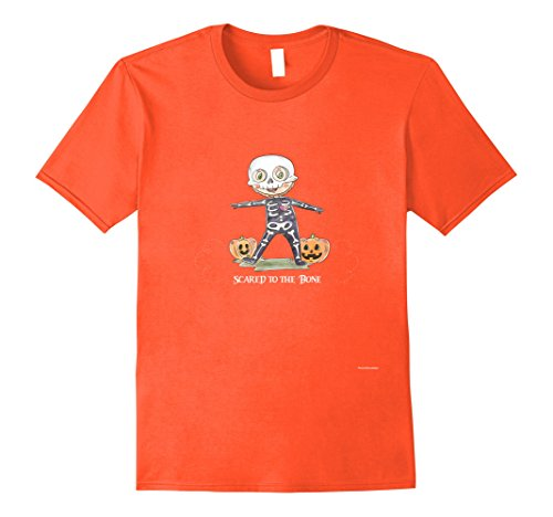 Mens Scared to the Bone Costume -Cute Holloween Fun T shirt Medium Orange - Cute Costumes For Holloween