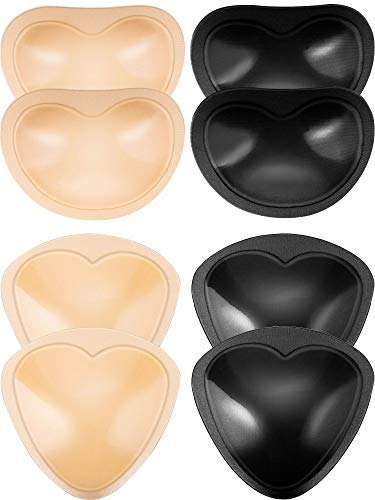Frienda 4 Pairs Self-Adhesive Bra Pads Inserts Removable Push Up Breast Enhancer for Bikini, 2 Shapes (Black and Beige)