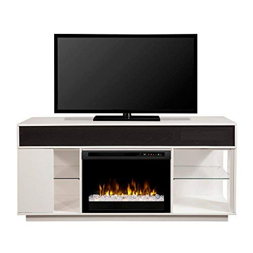 DIMPLEX Electric Fireplace, TV Stand, Media Console, Space Heater and Entertainment Center with Glass Ember Bed Set in White Finish - Audio Flex Lex #GDS26G8-1836W (White Fireplaces Dimplex Electric)