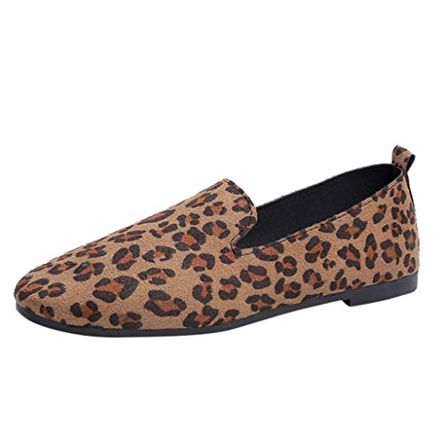 Randolly Women's Shoes  Casual Shoes Spring Leopard Shallow Mouth Single Shoes Women's Flat Shoes Brown