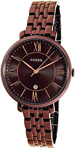 Fossil Women's Jacqueline Quartz Stainless Steel Dress Watch, Color: Purple (Model: ES4100)