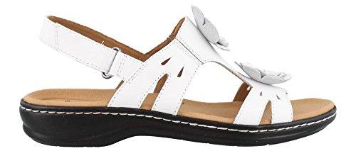 CLARKS Women's Leisa Claytin Flat Sandal White Leather 8 M ()