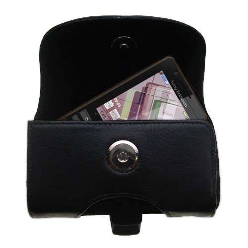 Gomadic Brand Horizontal Black Leather Carrying Case for the Sony Ericsson G900 with Integrated Belt Loop and Optional Belt Clip