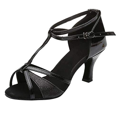 Wintialy Women Shose, Girl Latin Dance Shoes Med-Heels Satin Shoes Party Tango Salsa Dance Shoes Black