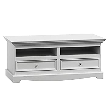 Belluno Prestige solid pine wood tv cabinet / unit in white with 2 drawers  living room