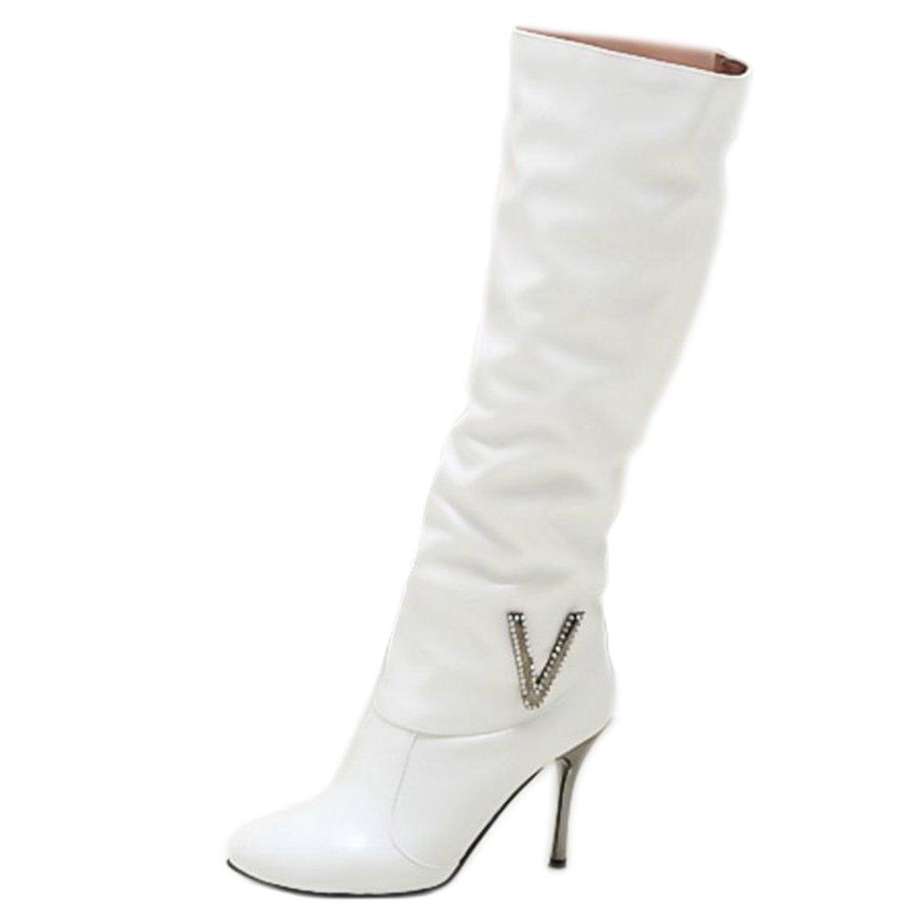 Zanpa Donna Inverno Scarpe Mode Slouch Alti Stivali tacco a spilloWhite