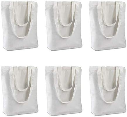 Insternet 6 Pack Canvas Tote Bag Reusable Canvas Bag Bulk For