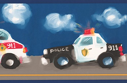 Police Ambulance Firetruck Wallpaper Border Faux Painted for Kids, Roll 15' x 7'' (Truck Border Wallpaper Fire)