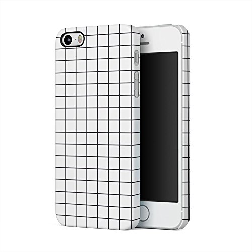 (White Checkered Pattern Apple iPhone 5, iPhone 5s, iPhone SE Plastic Phone Protective Case Cover)