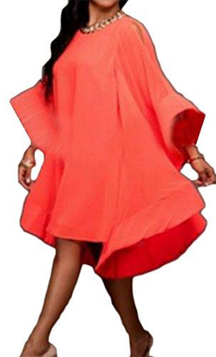 Cromoncent Femmes Manches Lanterne Ras Du Cou Casual Robe En Mousseline De Soie Froissée Rouge