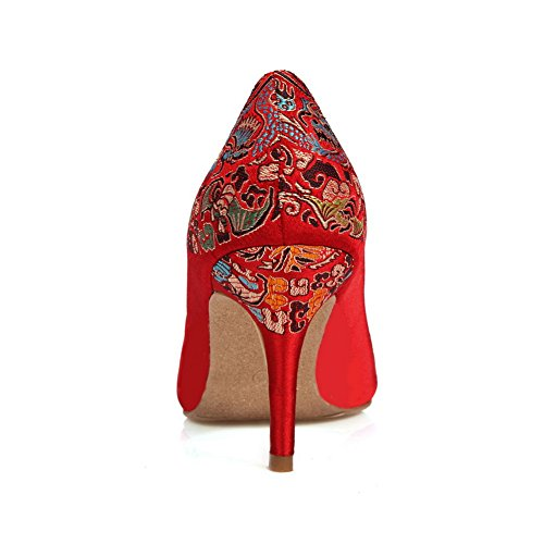 Balamasa Flickor Brud Broderade Spetsig Tå Imiterade Läder Pumpar-skor Röd