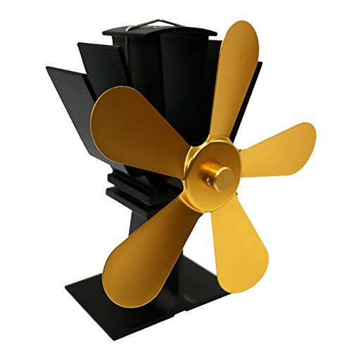 Stove Fan Maserfaliw Large Airflow 5 Blades Heat Powered Gas Wood Log Burner Home Fireplace Stove Fan - Golden, Home Life, Office, Holiday Gifts. (Best Fuel For Wood Burners)