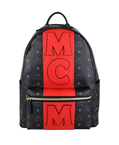 MCM Unisex Black/Red Canvas Coated Medium Backpack With Logo MMK8AVE31BK001