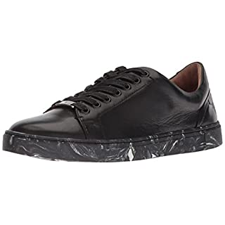 Frye Women's Ivy Low LACE Sneaker, Metallic Black, 8.5 M US