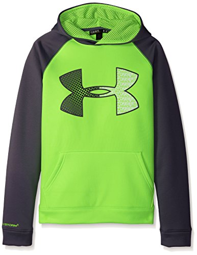 Jumbo Logo Hoody Sweatshirt - Under Armour Boys' Storm Armour Fleece Jumbo Logo Hoodie, Fuel Green (363)/Graphite, Youth X-Small