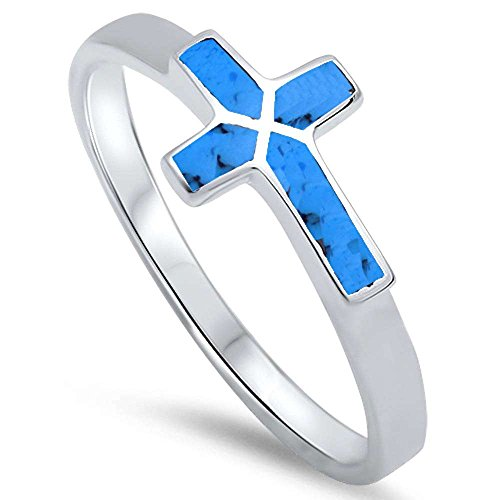 Turquoise Sideways Cross .925 Sterling Silver Ring Size 8 (Turquoise Ring Cross)
