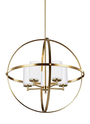 Sea Gull Lighting 3124605-848 Alturas Five-Light Chandelier with Etched / White Inside Glass Shades, Satin Bronze Finish