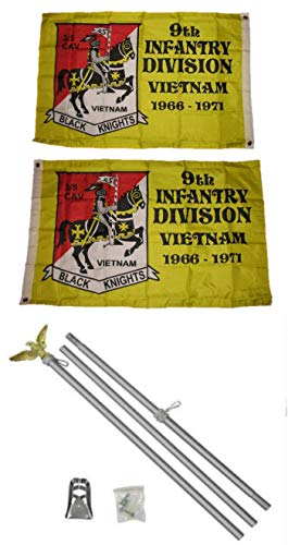 ALBATROS 2 ft x 3 ft 2x3 9th Infantry Division 2ply Flag Aluminum with Pole Kit Set for Home and Parades, Official Party, All Weather Indoors Outdoors