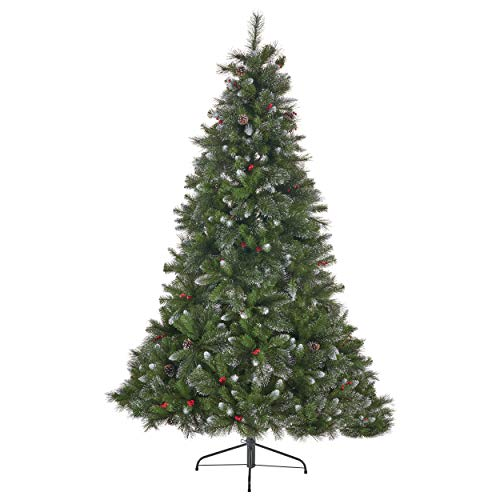 Great Deal Furniture 307380 7-Foot Mixed Spruce Pre-Lit LED or Unlit Hinged Artificial Christmas Tree with Glitter Branches, Red Berries and Pinecones