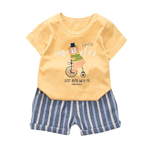 Jinjiu Outfits Set Enfants Kid Garons Ours Lettre Imprimer T-Shirt Tops + Ray Pantalon de Poche Vtements Set (Yellow, S)