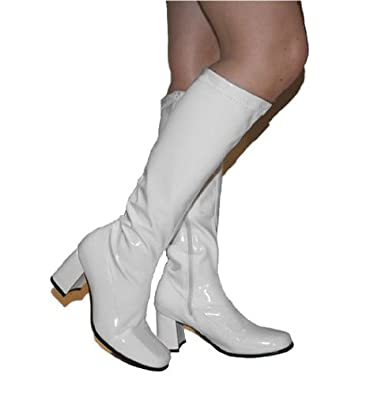 90ea368fc30 Suzie - White Patent PVC Low 2½ Inch Heel 60s 70s Retro Knee High GoGo Boots  - UK Size 11