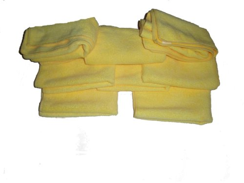 8 Pack of Yellow 300 GSM Professional Quality Microfiber Towels-14