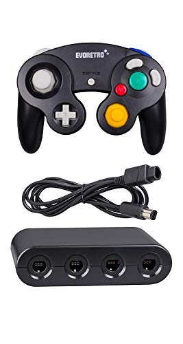 Game Controller Adapter - Black Controller and Adapter and for Gamecube compatible for Nintendo Switch - Ideal Bundle for Smash Bros Compatible also for PC Wii and Wii U