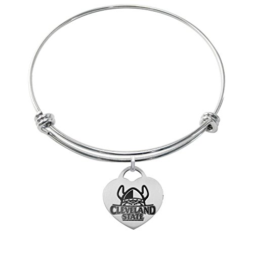 Cleveland State Vikings Stainless Steel Adjustable Bangle Bracelet with Heart - Cleveland Bracelets Stainless Steel