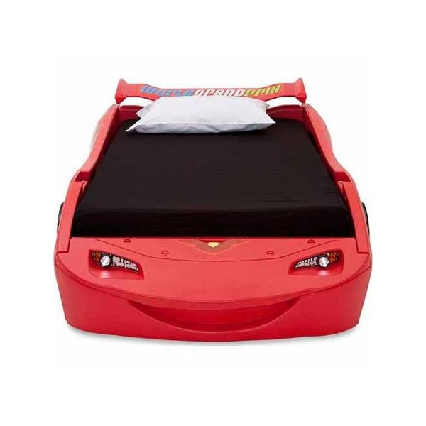 Disney - Cars Lightning McQueen Twin Bed with Lights Recommended For Kids Of All Ages 3