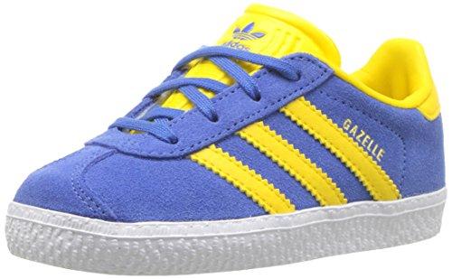 adidas Originals Boys' Gazelle I Sneaker, Blue/Equipment Yellow/Metallic Gold, 4 Medium US Toddler